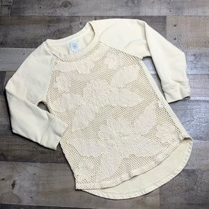 LUCKY LOTUS CREAM LACE FRONT SWEATER SZ XS